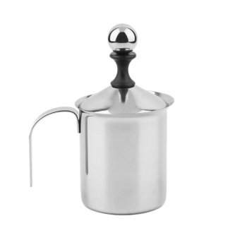 Harga Beau 400cc Stainless Steel Milk Frother Double Mesh Foamer DIY Fancy Coffe Cream Silver - intl