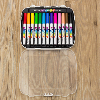 13 x Permanent Fabric Marker Paint Fine Nib Pen T-Shirt Clothes Shoes DIY Graffi - 2