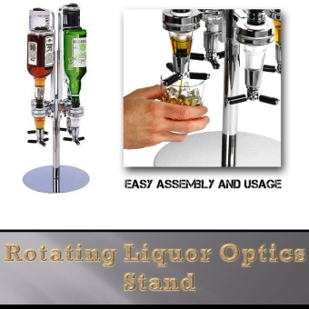 Harga ★★Rotating Liquor Optics Stand/ Beer Alcohol Dispenser★★Liquor Spirits Wine Beer Dispensers Rotary 4 Bottle Stand with 35ml Measures Bar Top accessory Steel Bar Butler Beer Dispenser