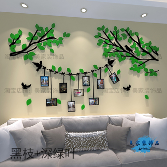 Harga Creative photo tree living room sofa bedroom bedside background wall 3d three-dimensional crystal acrylic wall stickers home decor