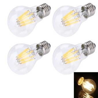 4 PCS A60 E27 8W 8 LEDs 580 LM Retro Energy Saving LED Filament Light Bulb For Halls, AC 85-265V(Warm White) - intl