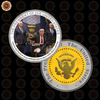 Harga WR The President of US Donald Trump Ban Refugees To Enter Silver Coins for Sale - intl