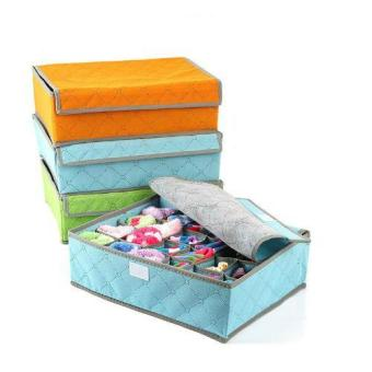Harga 24Cell Foldable Charcoal Bamboo Clothes Storage Box Organizer (Blue) - intl