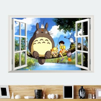 Harga 3D Cartoon My Neighbor Totoro Mural Wall Decals Removable Sticker Kids Room Decor - intl