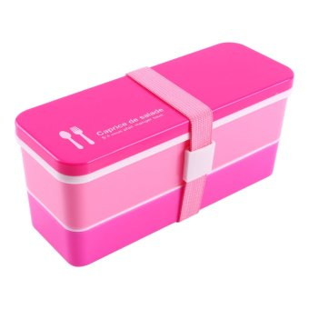 Plastic Double Layers Lunch Box Food Storage Container(Red)