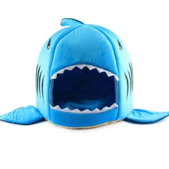 Harga 12Pcs Shark Mouth Kennel Pets Bed Dogs/Cats House Removable Cushion Blue S