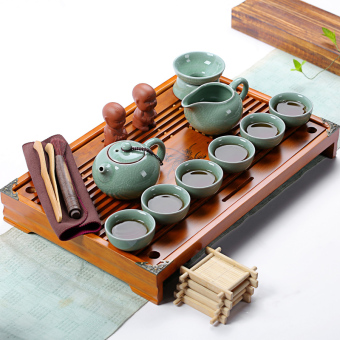 Harga Sheng whole set Tea Set Home kung fu ceramic tea cup wood tea tray tea sea tea accessories tea