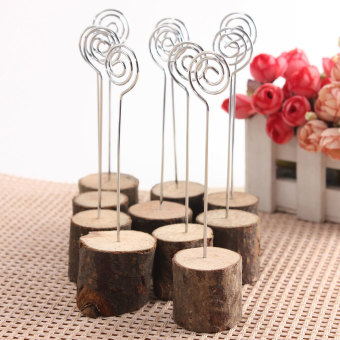 10pcs Wooden Wedding Table Card Photo Picture Holders Name Clip Hardwood Base New - intl