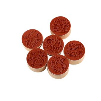 Harga Wooden Rubber Round Stamps Floral 6pcs Thank You - intl