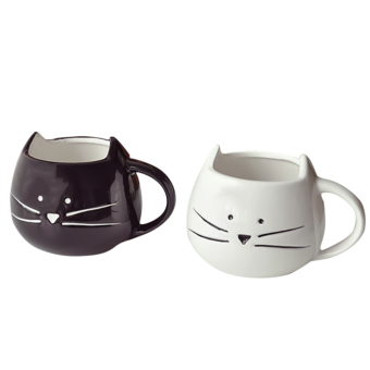 Harga 2 PCS Little White and Black Cat Coffee Milk Water Ceramic Mug Cup Christmas Birthday Gift
