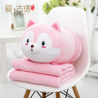 Harga Two cute husky dog pillow quilt dual air conditioning blanket dormitory office lunch break pillow car cushion backrest