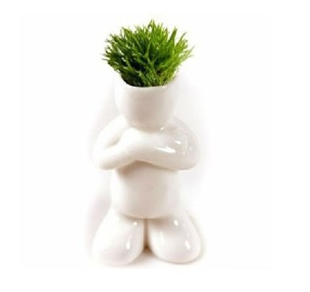 Harga BUYINCOINS Creative Ceramic Magic Grass Garden Table Planting Baby Plants Porcelain Toy Pot