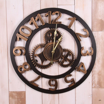 Harga Retro industrial loft style wall soft decoration bar cafe wall hangings creative gear wall clock decorative wall clock