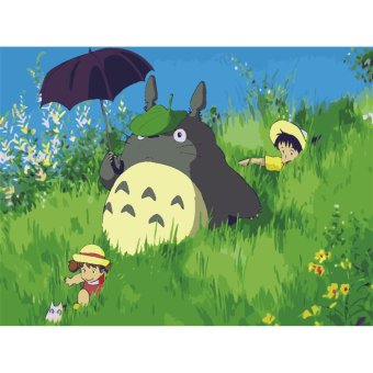Harga My Neighbor Totoro DIY Oil Painting Paint By Numbers Digital Hand-painted Living Room Office Decor Painting (Frameless),Size:50x40cm