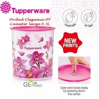 Harga TUPPERWARE Orchid Elegance One Touch Canister Large Food Storage Air Tight Liquid Tight 4.3L x 1