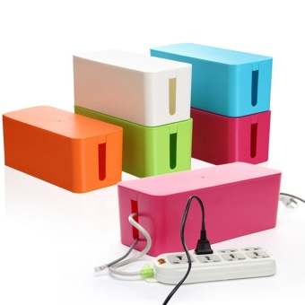 Harga Plastic Wire Storage Box Cable Manager Organizer Box- white(S)