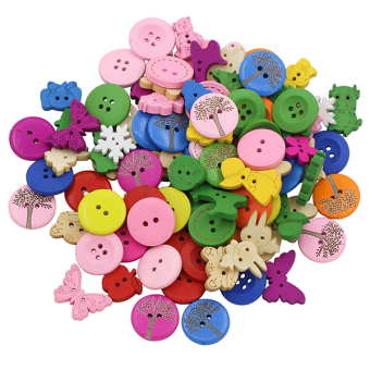 Bluelans 2 Holes 4 Holes Mixed Dyed Sewing Wooden Buttons Scrapbooking DIY 100Pcs
