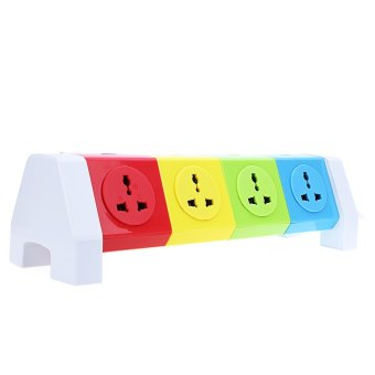 Harga Alardor Colorful ALD-4W8K-L 180 Degree Rotating Socket Intelligent Patch Panel USB Surge Protection Power Strip - UK PLUG