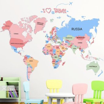 Harga Map of the world removable wall stickers nursery wall decor wall sticker living room bedroom office