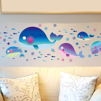 Harga Large whale bathroom tile bathroom glass decorative wall stickers children's room wall stickers cartoon marine fish sticker