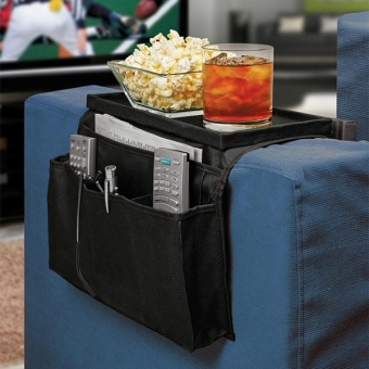 Harga 6 Pockets Sofa Chair Couch Armrest Organizer Storage Bag Pouch Remote Control Holder (Black) - intl