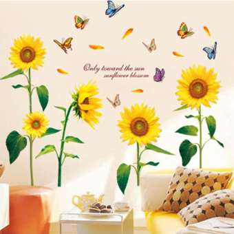 Harga Removable Wall Stickers Sunflower Wall Stickers - Intl