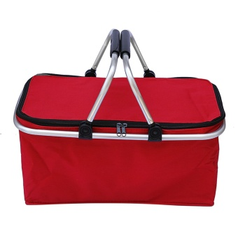 Harga 31L Large Capacity Insulated Picnic Food Basket Cooler Bag Collapsible with Dual Carrying Handles for Hiking Shopping Holidays Outdoor Travel Picnic Red - intl