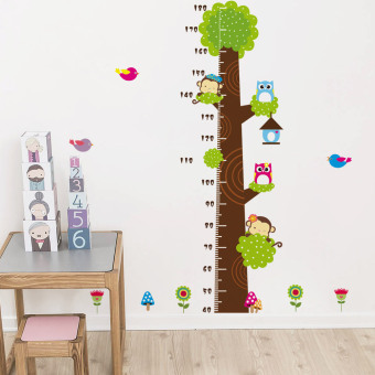 Harga Height Measurement Scale wall stickers monkey cat Head Eagle tree height stickers baby bedroom children's room cartoon sticker paper
