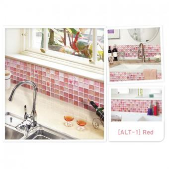 Harga Unidesign Home Bathroom/Kitchen 3D Wall Decor Stickers Wallpaper ALT1 Red