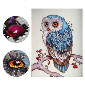Harga 40x60cm Owl Diamond Embroidery Animal 5D Diamond Painting Cross Stitch Diamond Mosaic Needlework - intl