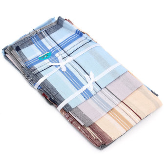 Harga LZ 12 Pack Check Patter Mens Handkerchiefs 100% Cotton Square Supersoft &Amp; Washable - intl