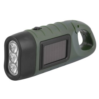 Harga OH Hand Held Crank Dynamo Solar Power Rechargeable LED Flashlight 3-LED Army Green