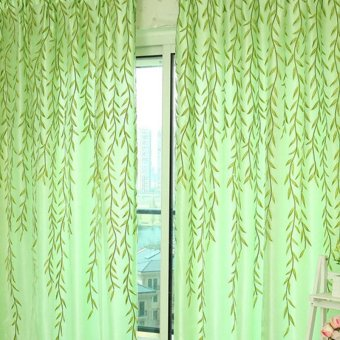 Harga VAKIND Chic Room Willow Pattern Voile Window Curtain (Green)(Export)