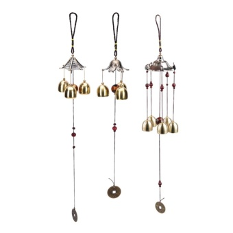 Large Copper Antirust Lucky Bells Copper Yard Garden Outdoor Wind Chimes Decor Lotus Leaf - intl - 2