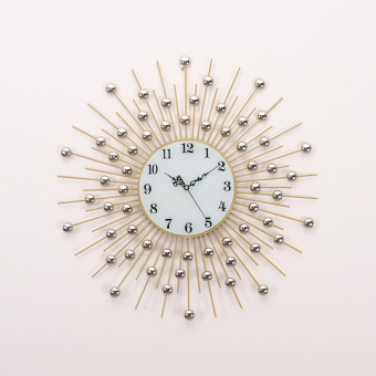 Harga Seoul european home crystal diamond wrought iron wall clock mute creative hanging clocks minimalist living room bedroom wall stickers