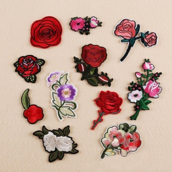 Embroidered Neckline Collar Lace Applique Decoration Patches Cl300 9 Source · 11PC Rose And Flower Floral