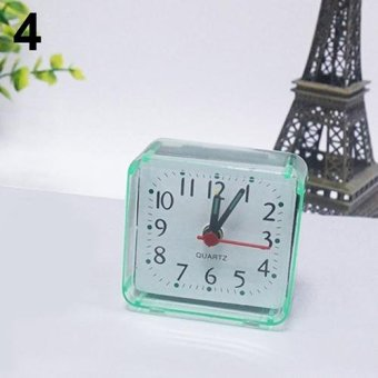 Harga Broadfashion Bed Travel Mini Portable Compact Square Quartz Beep Table Silent Alarm Clock (Green) - intl