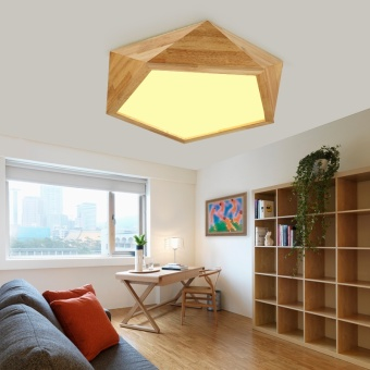 Harga Shifan Ceiling Light 62CM 32W (Warm Light) Wooden Led Lamps GY7101 Simple Creative Fixture Geometry Living Room Bedroom lighting