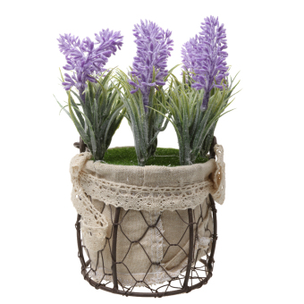 Harga MagiDeal Vintage Rustic Round Potted Artificial Flower Plant Wedding Prom Decoration - intl