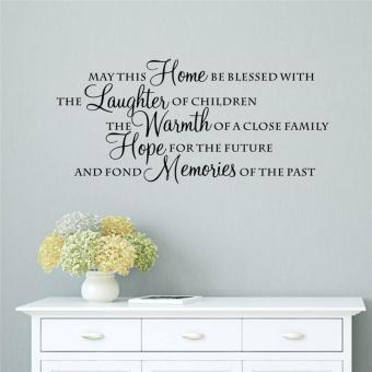 Harga May This Home Be Blessed with the Laughter Quotes Living Room Decals English Letters Bedroom Wall Stickers Kids Room Mural Art Vinyl Posters - intl