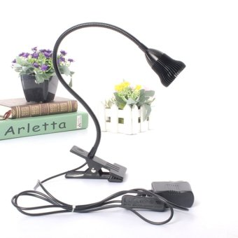 Harga LED Desk Lamp Table Bedside Study Reading Light Clip ON/OFF Clamp (Black Warm White) - intl