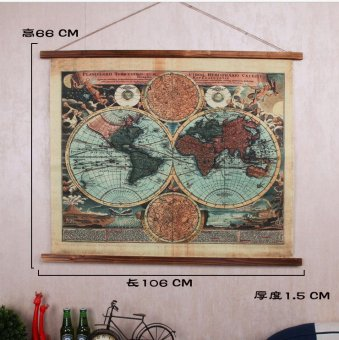 Harga Creative american wrought iron vintage world map wall decoration wall mural bar cafe wall hangings