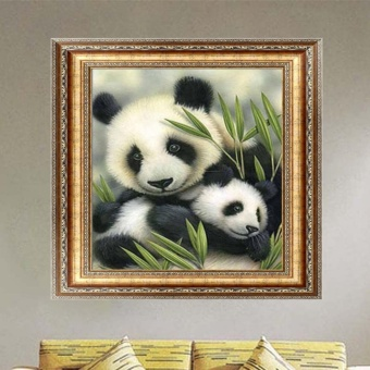 Harga DIY 5D Diamond Painting Cross Stitch Pandas Diamond Embroidery - intl