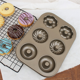 Harga 6 with round hollow cake mold donut mold baking mold bread baking sided nonstick bakeware