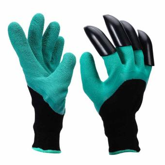 Harga Rubber Polyester Waterproof Work Gloves With 4 ABS Plastic Claws Garden Gloves for Digging & Planting - intl