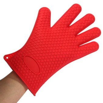 2pcs Kitchen Oven Glove Heat Resistant Silicone Pot Holder Baking BBQ Cook Mitts - 3