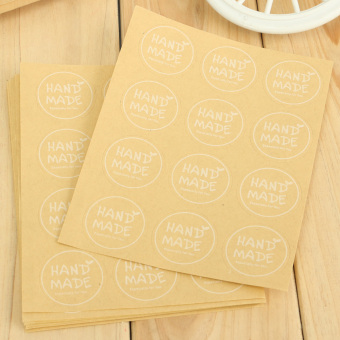 """Hand Made"" Craft Kraft Seal Sticker Label Cupcake Party Gift Bag Boxes Circle - 2"