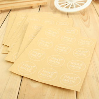 """Hand Made"" Craft Kraft Seal Sticker Label Cupcake Party Gift Bag Boxes Circle - 4"