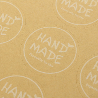 """Hand Made"" Craft Kraft Seal Sticker Label Cupcake Party Gift Bag Boxes Circle - 5"