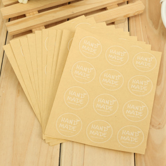 """Hand Made"" Craft Kraft Seal Sticker Label Cupcake Party Gift Bag Boxes Circle - 3"